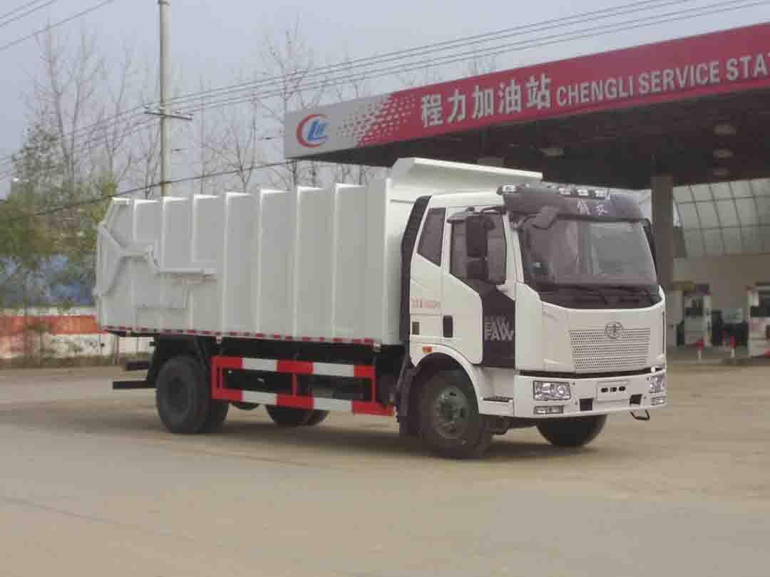 解放单桥CLW5160ZDJC5型压缩式对接垃圾车-程力威牌CLW5160ZDJC5型压缩式对接垃圾车-免征: 无|燃油: 无
